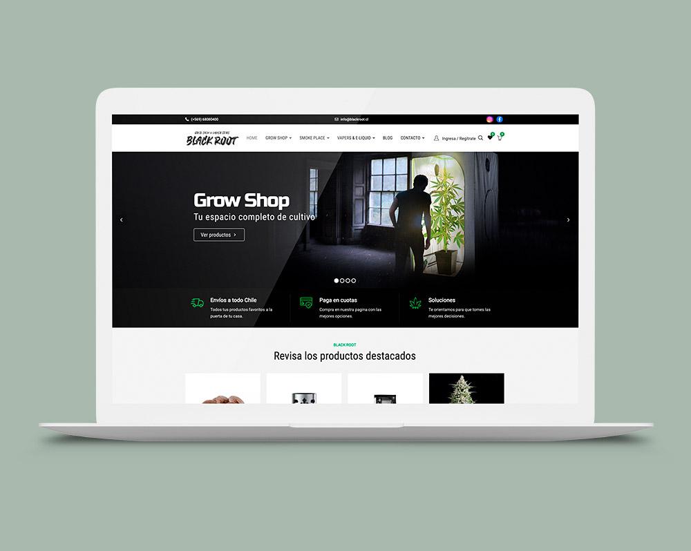 Diseño pagina web black Root